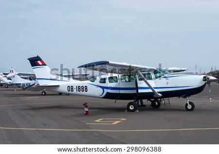 Nazca, Peru -13 Apr: Tourist light aircraft in airport of Nazca, Peru  - stock photo