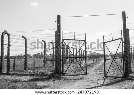 Nazi concentration camp Auschwitz, Poland - stock photo