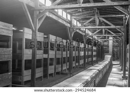 Nazi concentration camp Auschwitz, Poland - stock photo