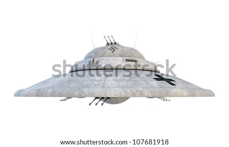 nazi ufo haunebu isolated on white background - stock photo