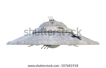 nazi ufo haunebu isolated on white background - stock photo