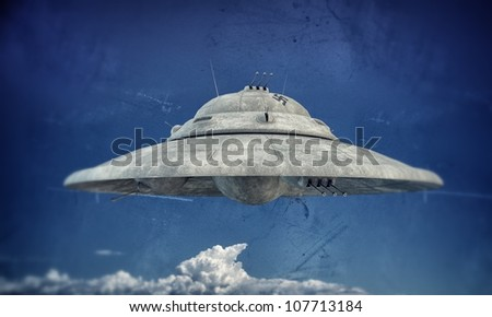 nazi ufo haunebu up in the sky - stock photo