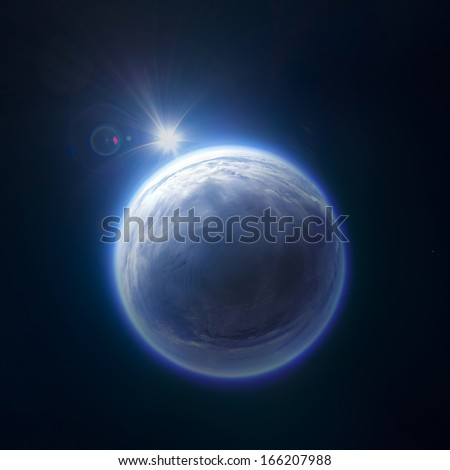Near Space panorama - 22km above ground / real panorama - stock photo