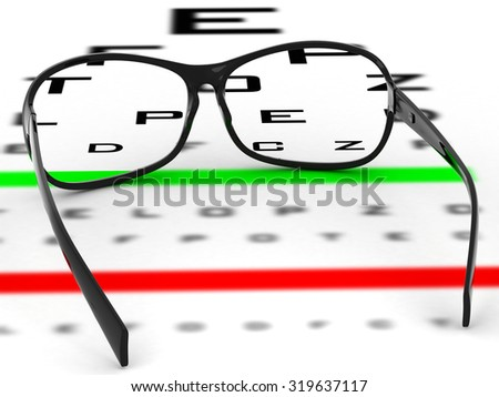 Near vision test card with glasses illustration. Eye examination tests, ophthalmologist (medical doctor) concept.