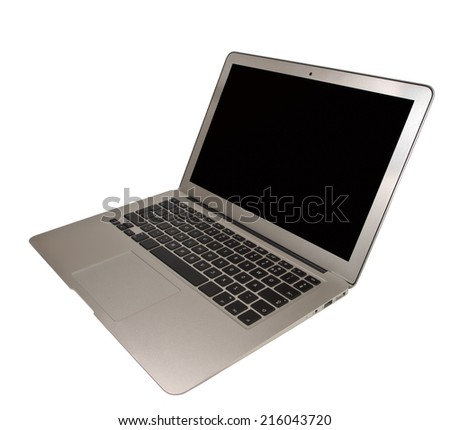 Neat Cut Modern Ultra Thin Laptop Computer, Isolated on White - stock photo