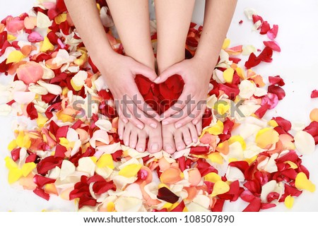 Neat tidy and clean hands and feet which are well manicured in a spa, resting on a bed of rose petals and making a red heart with hands.