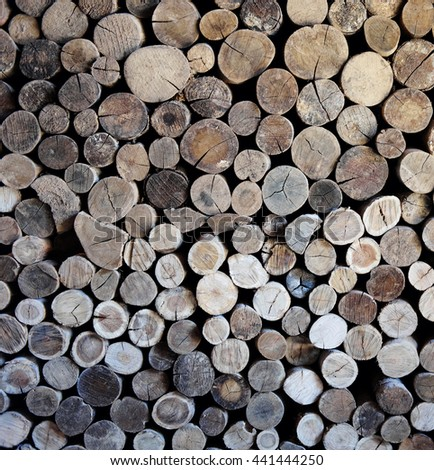Neatly Packed Firewood - stock photo
