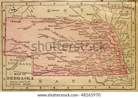 Nebraska, circa 1880. See the entire map collection: http://www.shutterstock.com/sets/22217-maps.html?rid=70583