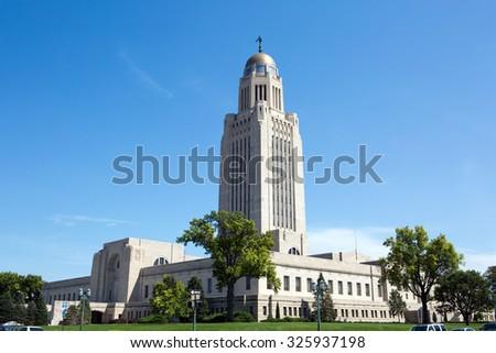 Nebraska State Capitol building is located in Lincoln, Nebraska, USA. - stock photo