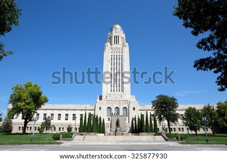 Nebraska State Capitol building located in Lincoln, Nebraska, USA. - stock photo