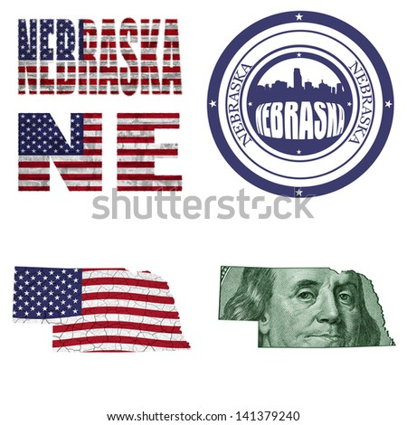 Nebraska state collage (map, stamp,word,abbreviation) in different styles in different textures - stock photo
