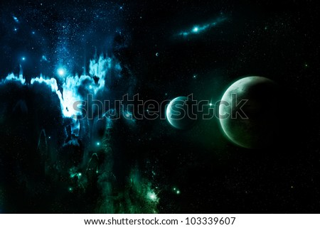 Nebula clouds in far outer space