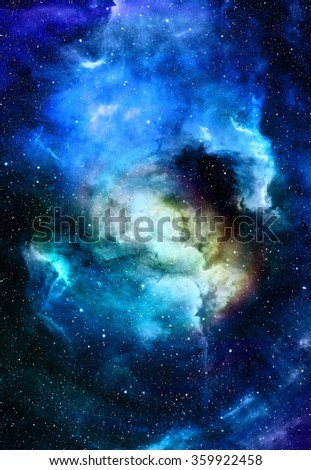 Nebula, Cosmic space and stars, blue cosmic abstract background. Elements of this image furnished by NASA. - stock photo
