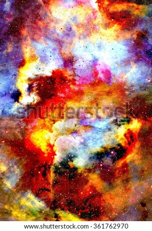 Nebula, Cosmic space and stars, color cosmic abstract background. Elements of this image furnished by NASA. - stock photo