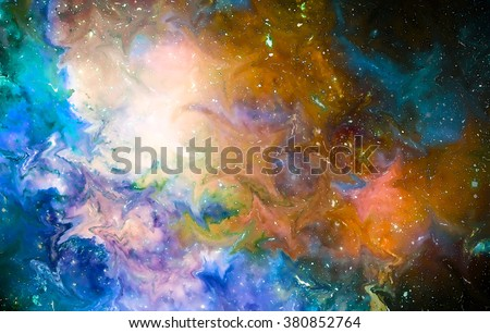 Nebula, Cosmic space and stars, cosmic abstract background and glass effect. Elements of this image furnished by NASA. - stock photo