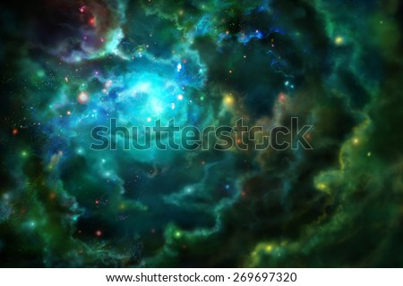 Nebula, glowing from within. Digital drawing. - stock photo