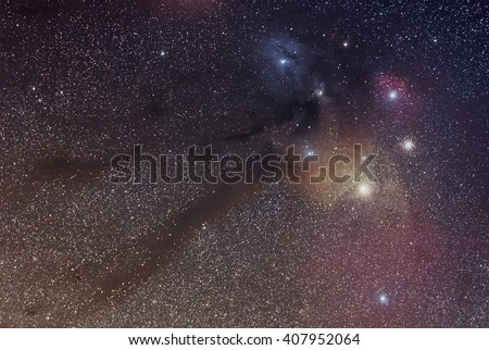 Nebula in Ophiuchus Constellation distance 500 light year - stock photo