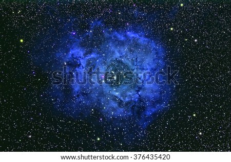 Nebula Rosette NGC2244 with Galaxy,Open Cluster,Globular Cluster, stars and space dust in the universe long expose. - stock photo