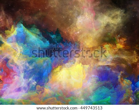 Nebula Surface series. Composition of color clouds and fractal elements on the subject of science, technology and education