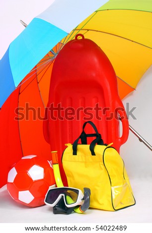 Necessary articles for happy holidays in tropical destination - stock photo