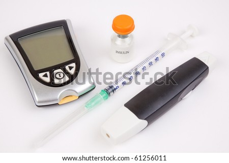 Necessary equipment for a diabetic person on a white background - stock photo