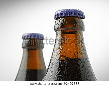 neck of a trappist beer bottle with a lid - stock photo