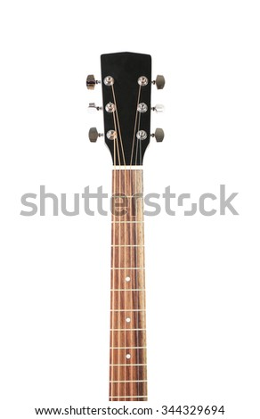 Neck of guitar isolated on white - stock photo