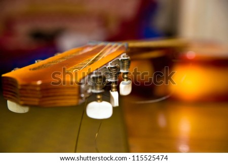 Neck of the guitar. - stock photo