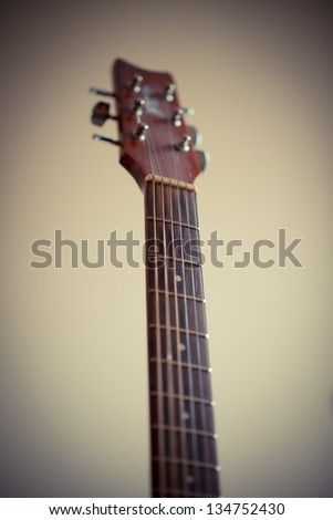 neck of the guitar - stock photo
