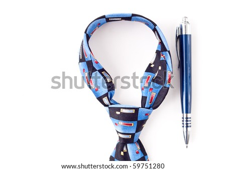 Neck Tie Dress Accessory with Pen - stock photo