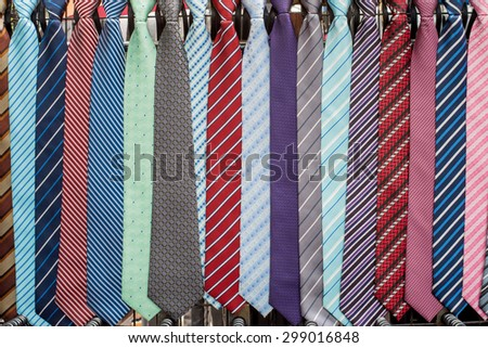 neck ties in the market - stock photo