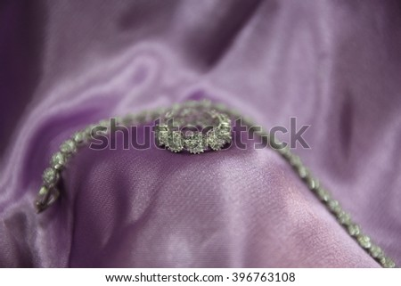 Necklace and Ring with violet background