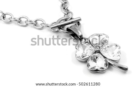 Necklace for women - Four-leaf clover - Stainless Steel - White background