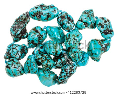 necklace from natural mineral gemstones - blue Howlite (turquenite, Turquonite, turquoise imitation) stones isolated on white background - stock photo