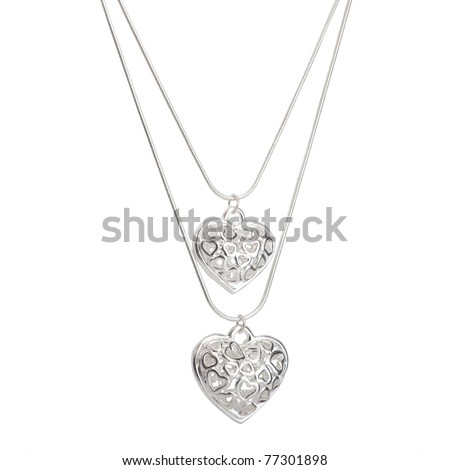 necklace isolated on white - stock photo