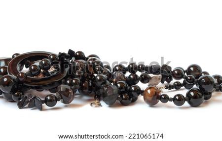 necklace with black stones  - stock photo