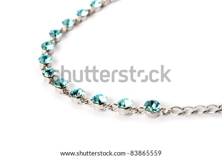 Necklace with blue stones  isolated on white background.
