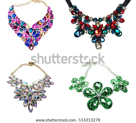necklace with bright crystals jewellery