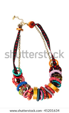 Necklace with coloured Beads on a white background