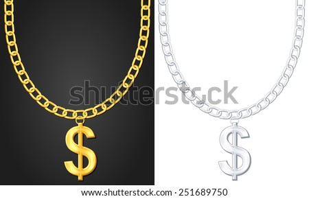 Necklace with dollar sign set. - stock photo
