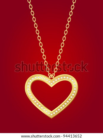 Necklace with golden heart and brilliants on a red background - stock photo