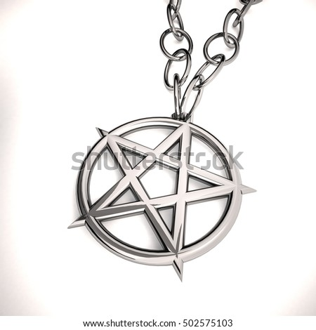 Necklace with pentacle, over white background, 3d rendering