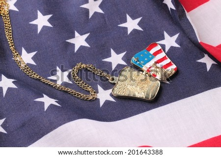 Necklace with statue of liberty on the american flag - stock photo