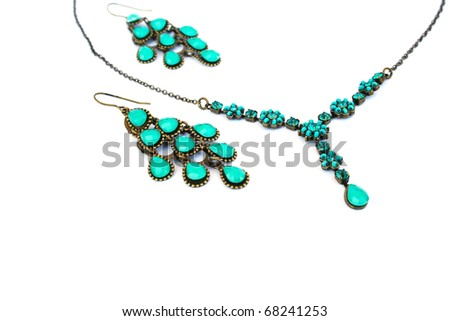Necklaces and earrings  isolated on white background.
