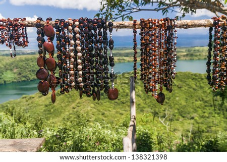 Necklaces of seeds in Nosy Be island, northern Madagascar - stock photo