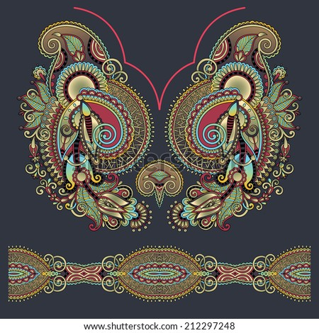 Neckline ornate floral paisley embroidery fashion design, ukrainian ethnic style. Good design for print clothes or shirt, raster version - stock photo