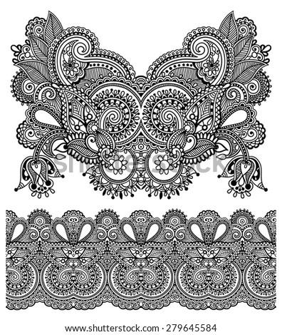 Neckline ornate floral paisley embroidery fashion design, ukrainian ethnic style. Good design for print clothes or shirt.  raster version illustration on black color - stock photo