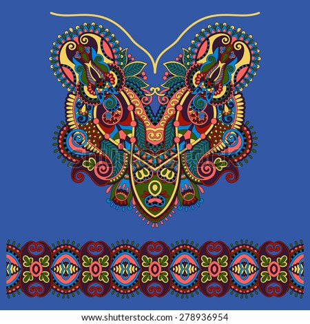 Neckline ornate floral paisley embroidery fashion design, ukrainian ethnic style in ultramarine color. Good design for print clothes or shirt.  raster version - stock photo