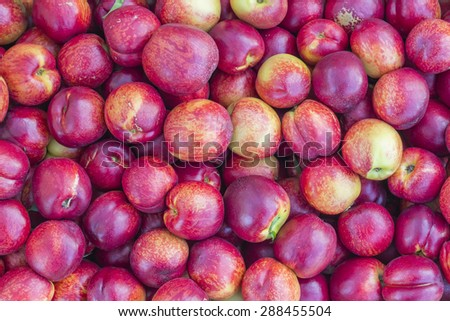 Nectarine background in farmer market. Prunus persica background. Selective focus and shallow dof. - stock photo