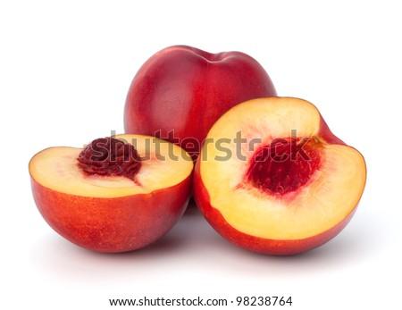 Nectarine fruit isolated on white background - stock photo